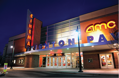 Outside View of AMC Movie Theater at Night