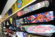 Skateboards on a Wall of a Shop
